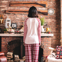 Song Riel spring and autumn male and female long sleeved striped pajamas cartoon couple home service