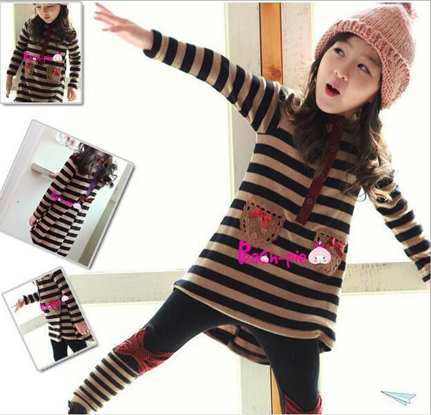 Retail Girls' Sets Long Sleeves Children Hoodies Striped Bow Clothing Kids Warm Suit T-shirt+leggings 2pcs/set AB284 - HAPEDY Garments Co., Ltd. store