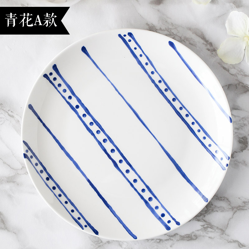 New Design White And Blue Ceramic Dish Plates Pastoral Household Bone China Porcelain Tableware Food Friut Sushi Salad Plates(China (Mainland))
