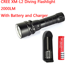 Buy New XML XM-L L2 LED Lanterna 2000 Lumens Diving Flashlight Torch Waterproof Underwater LED Light 18650 Battery & Charger for $16.13 in AliExpress store