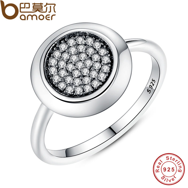 Real 925 Sterling Silver Signature Pave Round Ring with Clear Cubic Zirconia Compatible with Pan Jewelry PA7121(China (Mainland))