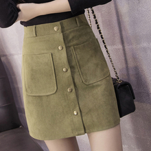 Buy 2016 new style women army straight casual skirt button mini skirt knee length skirt for $16.50 in AliExpress store