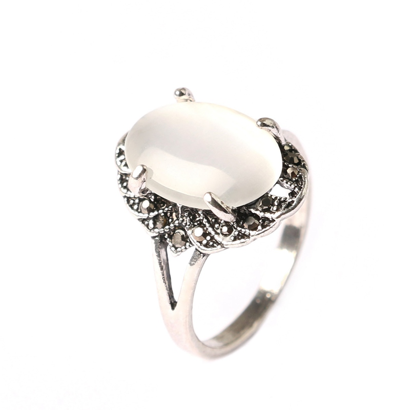 2016 wholesale vintage opal ring retro silver rings oval