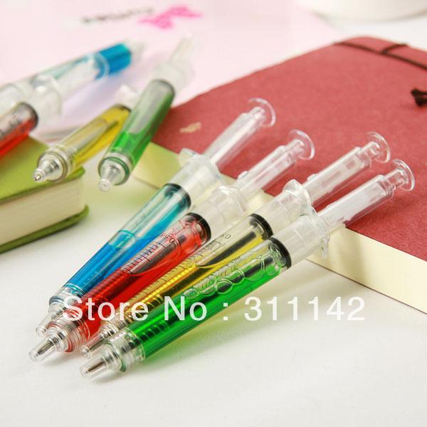 Hotsale! 6 Colors Syringe pen/Ball pen/ Promotional pen LOGO Print 1000pcs Free Shipping(China (Mainland))
