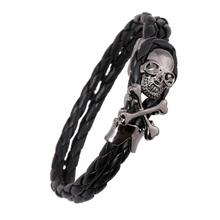 Steampunk Retro Design Skeleton Skull Cuff Bracelet Double Layers Leather Woven Bracelet Stainless Steel Skull Bangles For Women