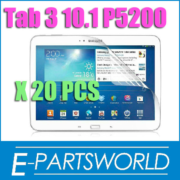 "For 10.1 inch Clear Transparent Crystal LCD Screen Protector Film Guard For Samsung Galaxy Tab 3 10.1"" P5200 P5210, 20 PC/lot"