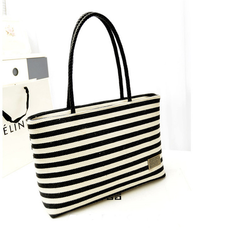 100% High Quality 2016 New Fashion Women's Bag Black&White Stripe Canvas Bag Vintage Leisure All-Match Handbag Sac pour femme(China (Mainland))