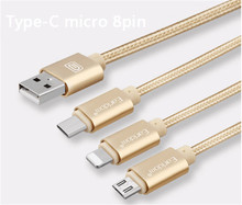 2016 New Nylon Line 2A Fast charging cable Micro USB3.1 Type-C USB Cable for iPhone6 6s Plus 5s for Samsung android phone