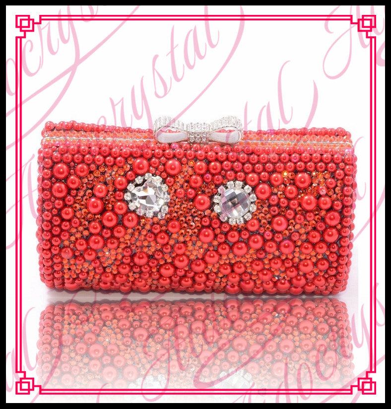 Aidocrystal 2016 handmade new beautiful design red crystal pearl beaded luxury India lady beads clutch bag for weddding party(China (Mainland))
