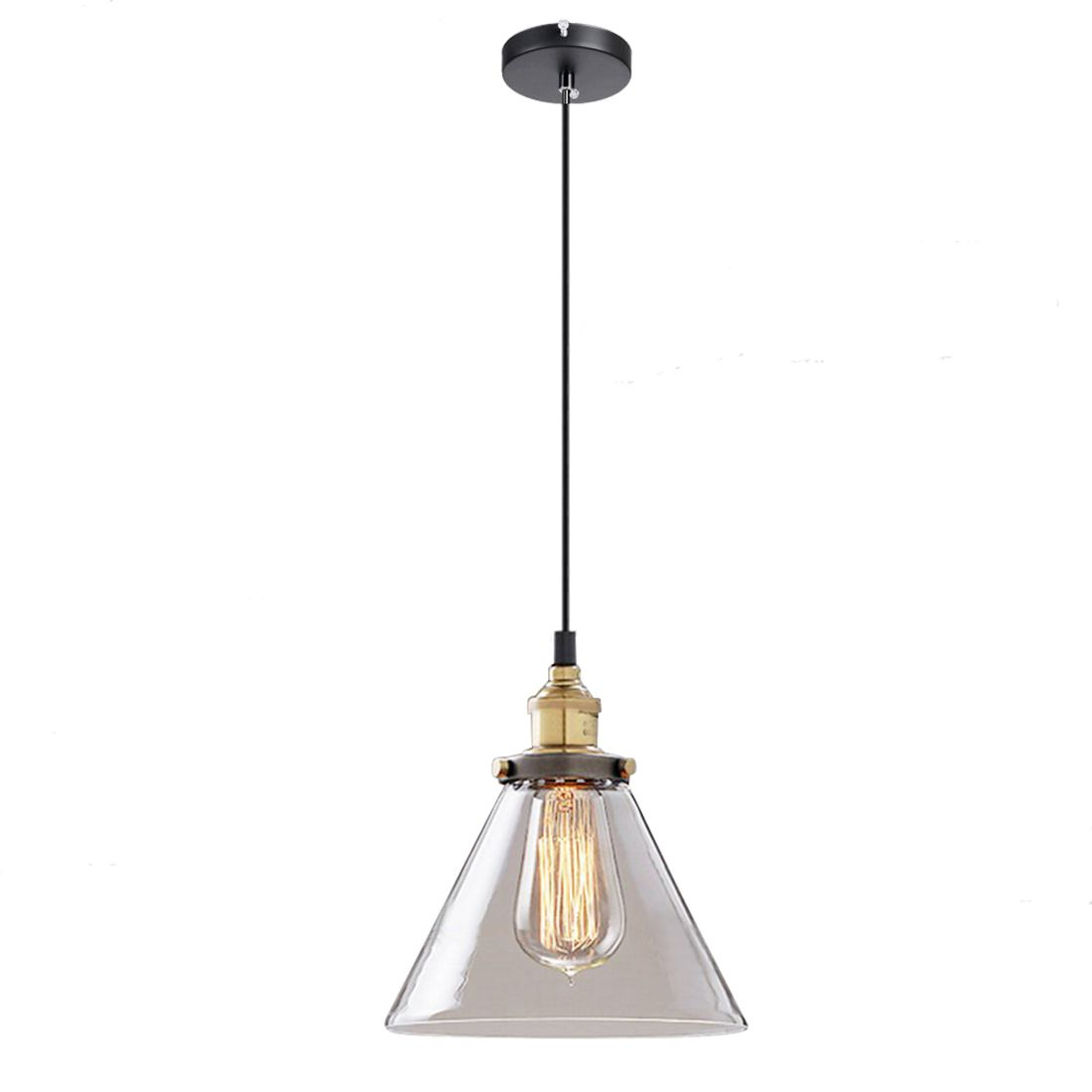 "8.7"" Clear Glass Fixture Vintage Industrial Pendant Lamp Fixture Hanging Light diameter 18cm"