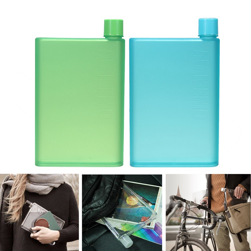 Notebook Paper Plastic Cup A5 Memobottle Novelty Cup My Cute Water Botle Handy Portable Flat Kettle 430ML Sports Drinking Bottle(China (Mainland))