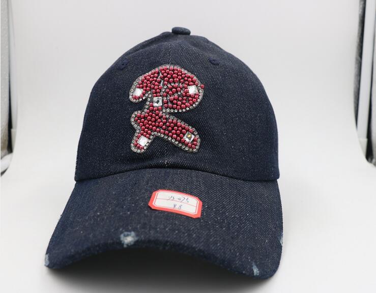 The letter R inlay zircon blue man cowboy baseball cap outdoor fashion hat(China (Mainland))