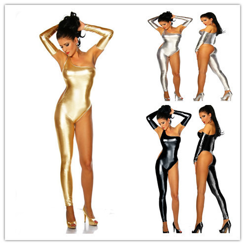 Gothic Nightclub jumpsuit sexy costume set Punk Single Shoulder Catsuit gold black silver Clubwear Costumes Faux Leather Costume(China (Mainland))