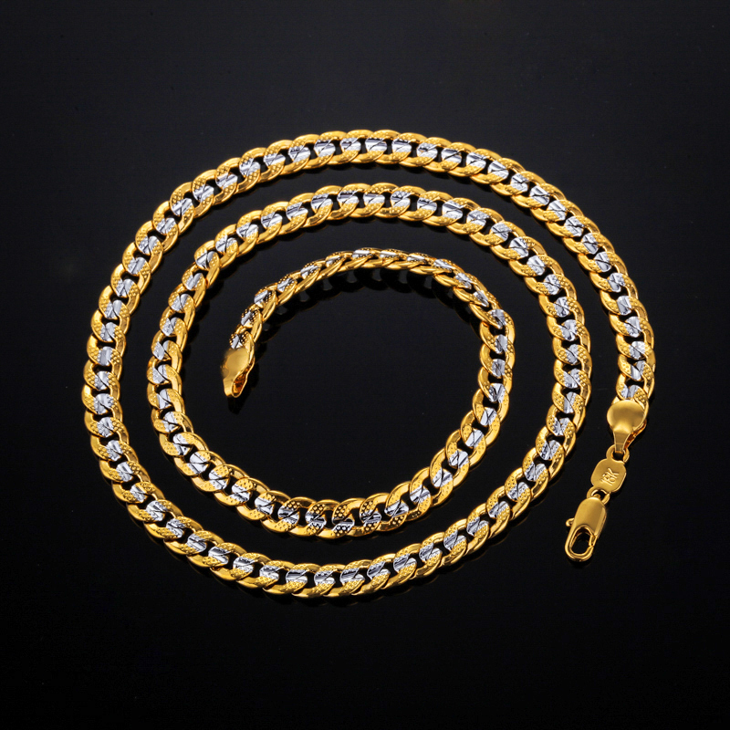 """new Two Tone Necklace With """"18K"""" Stamp Real Gold Plated Men Jewelry Wholesale 2016 New Trendy 55 CM Cuban Link Chain Necklace(China (Mainland))"""