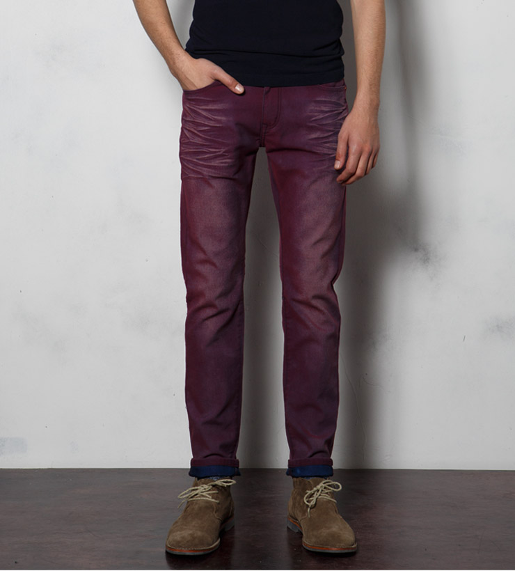 jeans multicolour breathable male elastic skinny green blue red brown(China (Mainland))