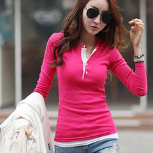 5 Colors Women Long Sleeve Cotton Slim Ladies Tops Blouse Sweater(China (Mainland))