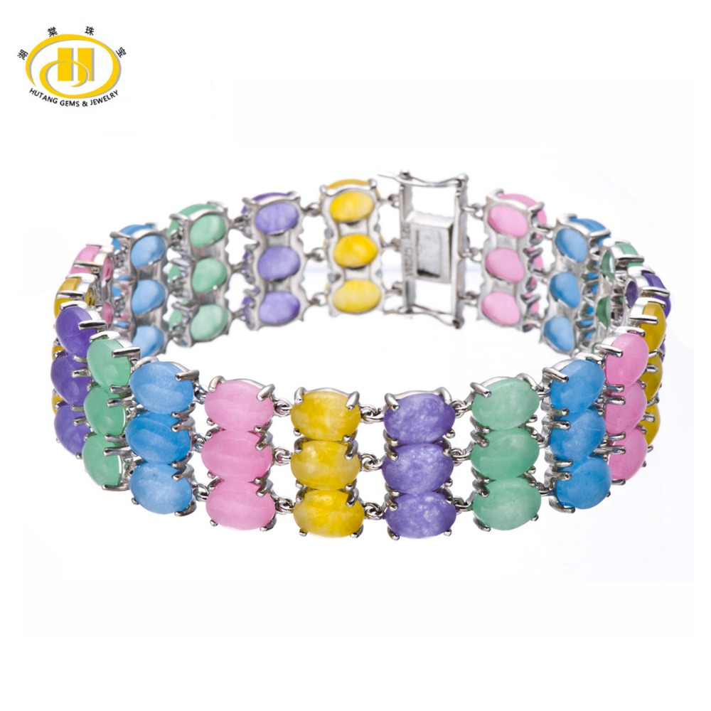 Hutang Jewelry Multi Color Chalcedony Solid 925 Sterling Silver Link Bracelet For Christmas Gift 7.5<br><br>Aliexpress