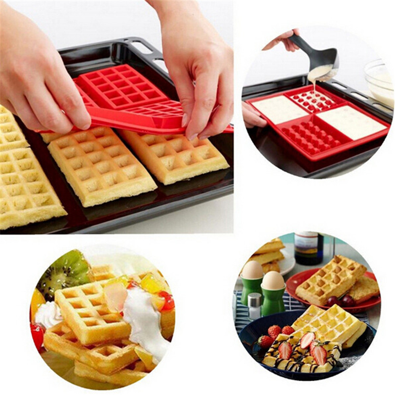 1 X Safety 4-Cavity Baking Mould Waffles Cake Chocolate Pan Silicone Mold Cooking Tools Kitchen Accessories Supplies P15(China (Mainland))