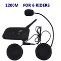 1200M New V6 BT Wireless motocicleta Interphone Headsets Helmet Headset Bluetooth Intercom Helmet Headset 6 Riders