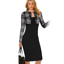 2016 Hot Winter Women Plaid Tartan Outwear Tops Bodycon Tube Pencil Midi Dress