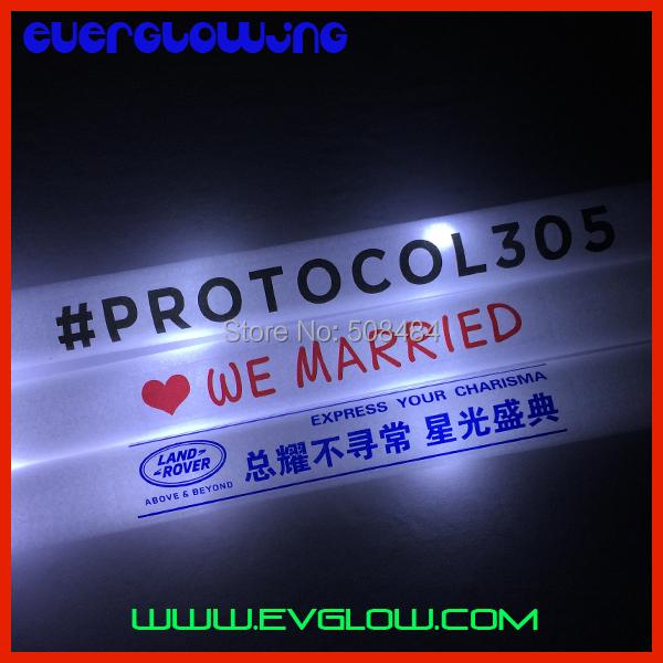 free shipping 4*48cm 180pcs/lot steady white led foam stick foam glow stick light up sticks for wedding decoration Christmas(China (Mainland))
