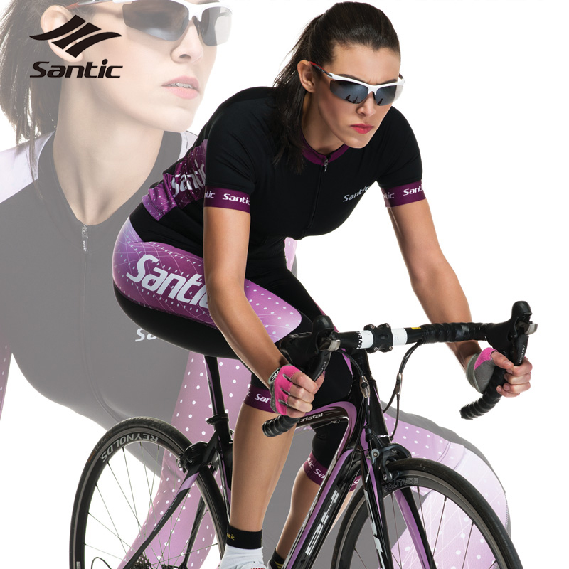 2015 Santic Cycling Jersey Women Breathable Quick Dry Summer Short Sleeve Cycling Clothing Apparel Racing Team Bike Jersey