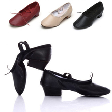 Ballet Shoes With Heels Adult Dance Shoes Women Girls Soft Leather Latin Dance Shoes Practice Teacher Teaching(China (Mainland))