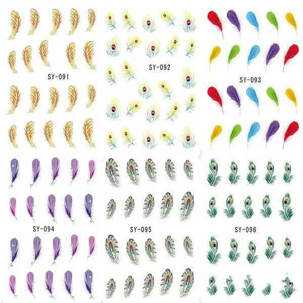 Tinysale Peacock Feather Nail Art Water Transfers Decals Stickers(China (Mainland))