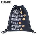 RU BR Emoji Backpack Drawstring Bag Unisex Backpacks 3D Printing Travel Soft Backbag Men Women Mochila