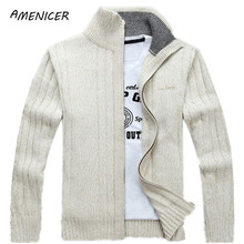 Man Sweater Casual Men cardigan thick cashmere sweater Outdoors outerwear winter Brand Army Green white blue(China (Mainland))