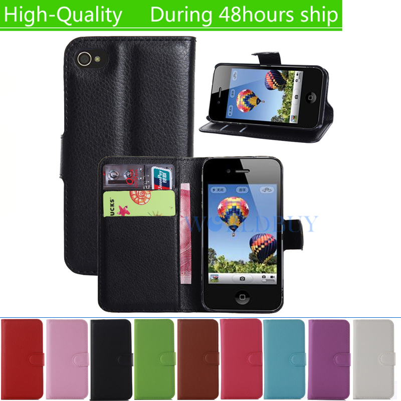 Luxury Wallet Credit Card Book Style Flip Stand Leather Case Back Cover For Iphone 4 4s leather case(China (Mainland))