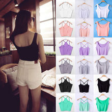 2015 Hot Summer Style Women Tank Crop Tops Short Fitting Vest Women's Sexy Sport Camisole Bustier Crop Top Camiseta Feminina