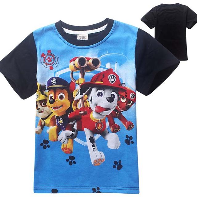 Мальчик собака патруль одежда детские футболки для мальчиков мультфильм свободного покроя для детей девушки топы мода костюм футболки enfant