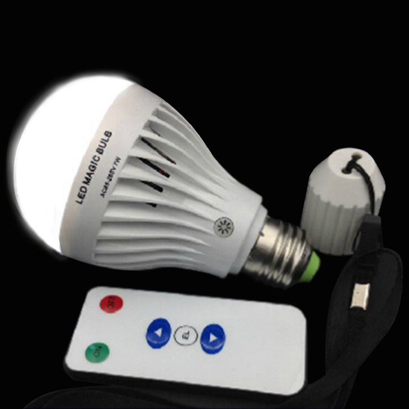 dimmable 7W E27 White LED Rechargeable Emergency Magic Bulb Light Flashlight 85-265V with dimmable remote controller(China (Mainland))