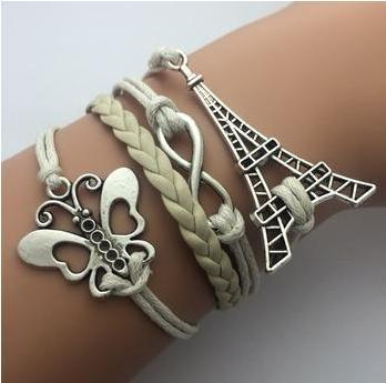 2014   Fashion jewelry leather Double infinite multilayer bracelet factory price s