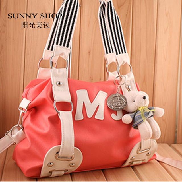 SUNNY SHOP  sale fashion cross-body candy color messenger bag for girls summer student women's handbag ladies shoulder bag