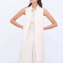 Mujeres blanco negro chaleco largo abrigo estilo de Europen chaleco chaqueta sin mangas volver dividir outwear casual top Roupa Femenina MJ62(China (Mainland))