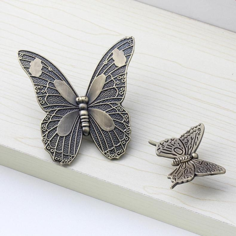Antique Butterfly Cupboard Door Knobs and Handles Kitchen Cabinet Knob Drawer Pulls Furniture Decorative Handles(China (Mainland))