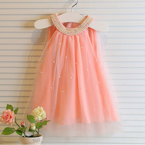 2015 girls dresses summer style children dress fashion baby Pure color pearl collar tutu Princess for kids clothing(China (Mainland))