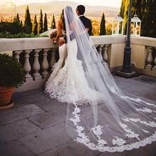 2015 new real foto bianco/avorio appliqued mantilla velos de novia velo da sposa lungo con pettine accessori da sposa MD2003(China (Mainland))