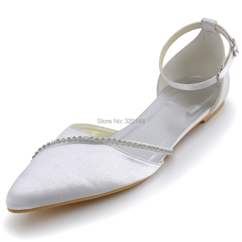 Women Wedding Shoes White A670 Pointed Toe Rhinestones Ankle Strap Satin Wedding Bridal Flats In