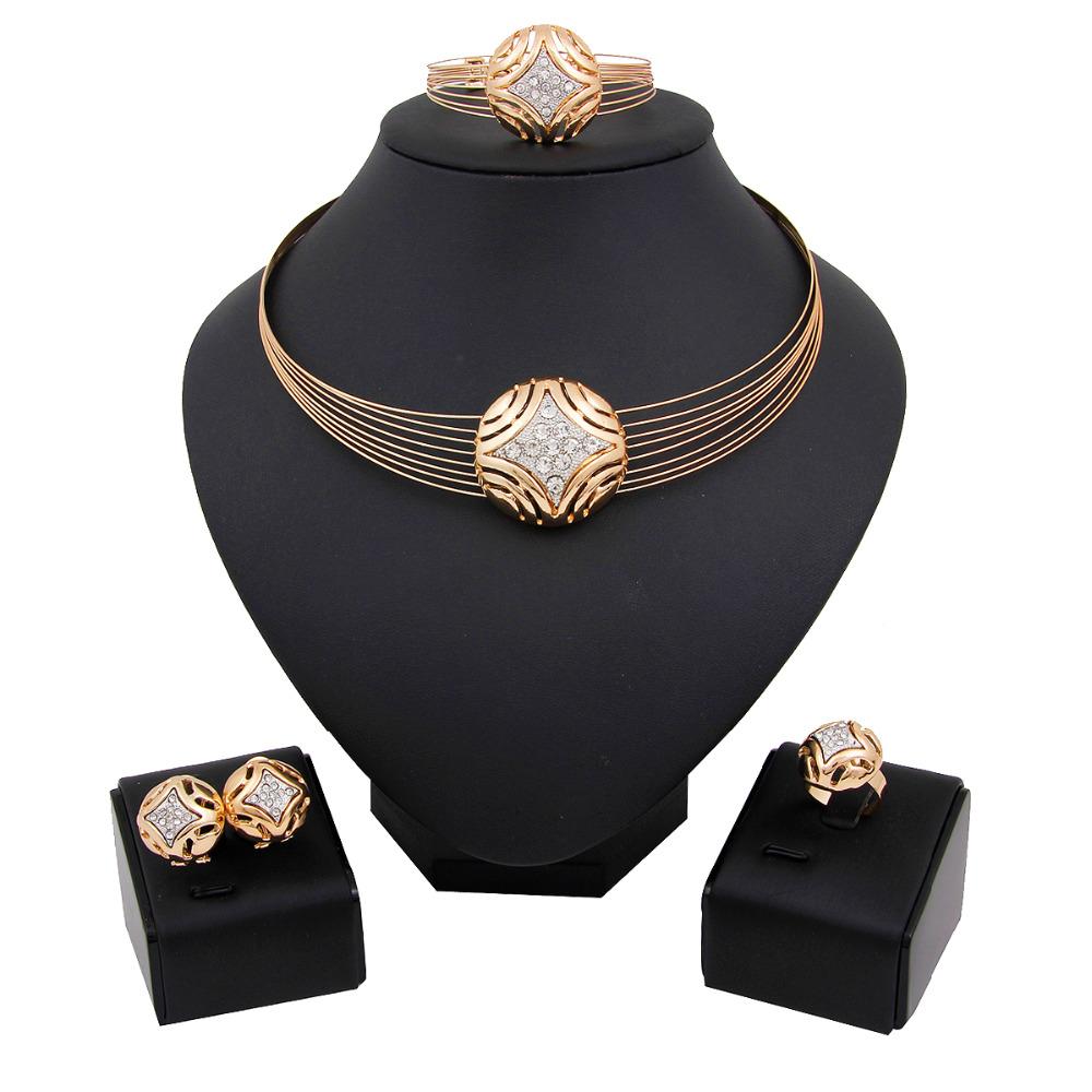 free shiping colourful  rhinstone  Dubai African18K Gold Plated Fashion Wedding Bridal accessories Jewelry set<br><br>Aliexpress