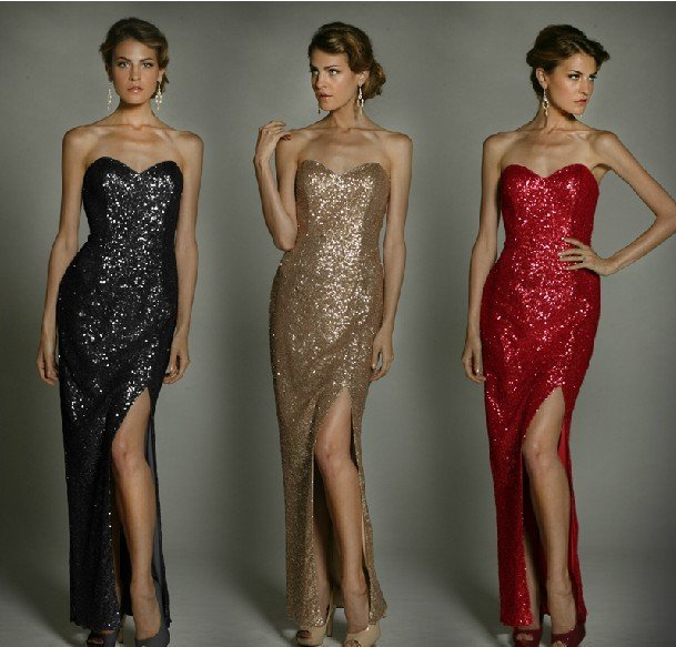 free shipping via DHL, 2 stock color, 1pc/lot, Luxurious,gorgeous sequins evening gown with front slit #ED691
