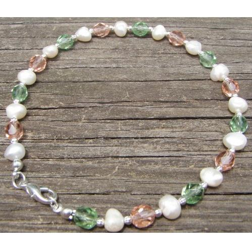 Pastel Green And Pink Glass Anklet With Freshwater Pearl(China (Mainland))