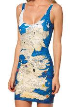 Musim semi 2015 seksi pakaian wanita, Runway gaun perempuan,China mainland map digital printing,Lipit pengiriman Drop Sld1035(China (Mainland))