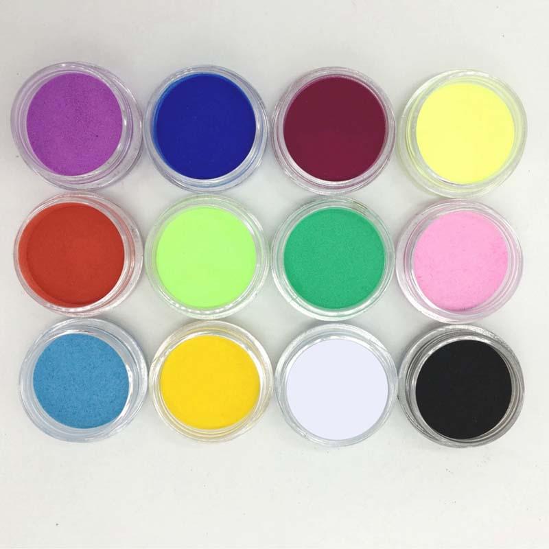 12Pcs Women Lady Girl Nail Art Tips Mix Colors Glitter Powder For Acrylic UV Gel Decoration DIY Manicure Beauty Tools HB(China (Mainland))