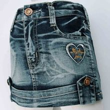 3-7 Years Kids Denim heart shape Rhinestone embroidery Skirts Brass button baby Girls children Jean Skirt  New 2016 MH9117