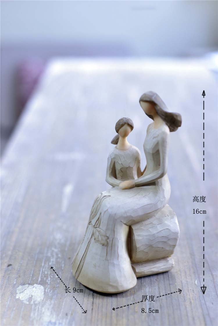 2 Sets Resin Guardian Angel Mother & Daughter & Son Figurine Mother's Day Gift(China (Mainland))