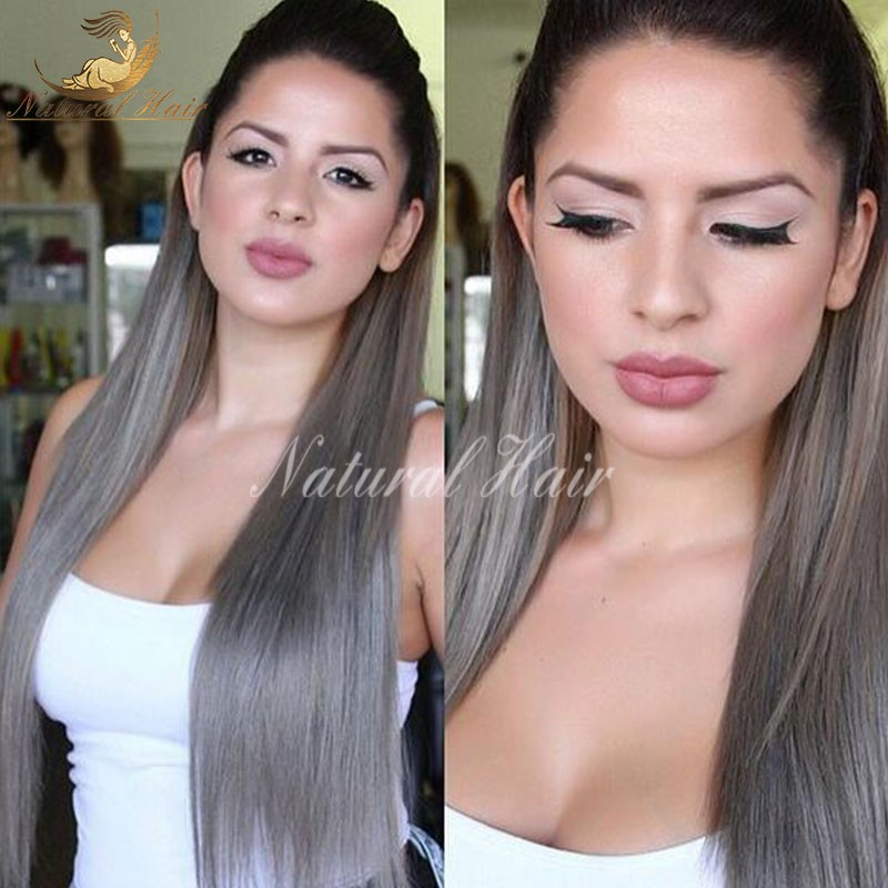 Grey Human Hair Wigs Glueless Full Lace Wig Human Hair Brazilian Virgin Hair Lace Front Wig For Black /White Women