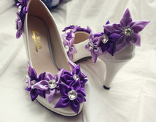 New Crystal High Heels Bride Wedding Shoes Banquet Purple Flower Nightclub Party Prom Pumps Woman Shoes(China (Mainland))